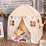 Large Children Playhouse - Indoor Nursery Canvas Play Tent Bed House, Sturdy Frame & Mess Windows, Easy to Put Up and Take Down (Beige)