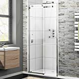 1200 x 700 Frameless 8mm Sliding Easy Clean Glass Shower Enclosure Door + Tray Set by iBathUK