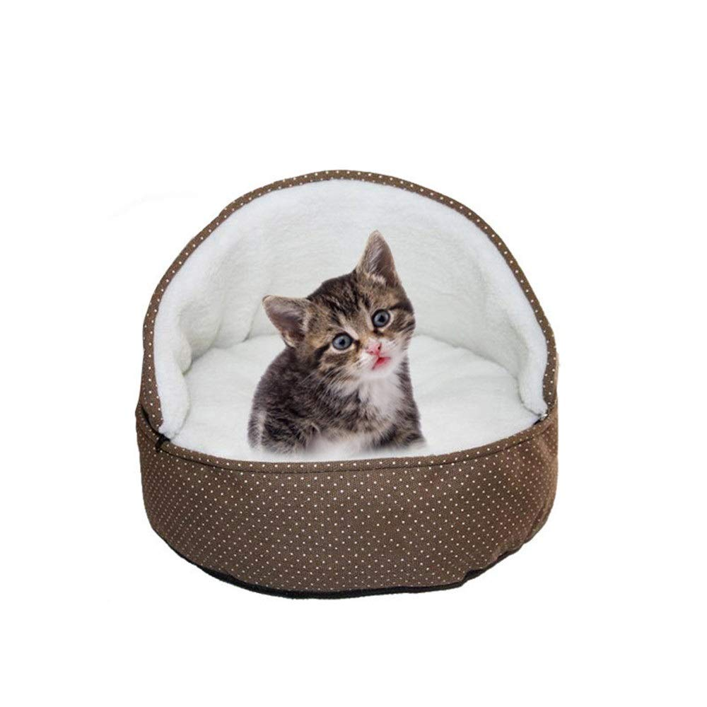Brown Ultra-Soft Warm Pet Bed Kennel Cat Litter Mat Pet Nest Shell Type with Round Nest Small Dog Teddy (color   Brown)