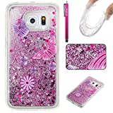 Galaxy S6 Edge Case, Firefish Slim Sparkle Shock Absorption Slim Bumper Cover Anti-Slip Soft Silicone Protective Skin for Girls Children Fits for Samsung Galaxy S6 Edge -Butterfly