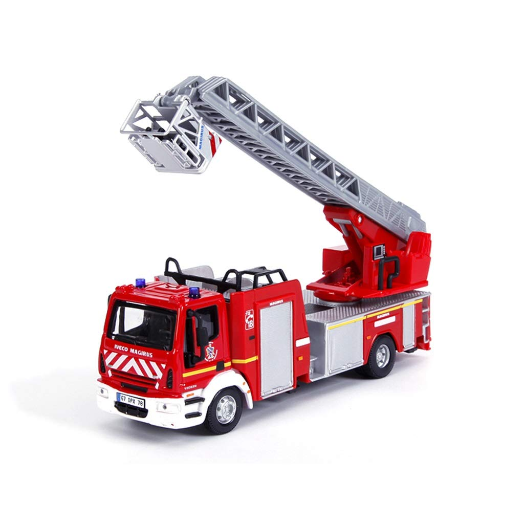 LINGLIGN Alloy Engineering Car Model 1 50 Ladder Ladder Fire Truck Toy Model Engineering Vehicle Simulazione antincendio (colore   Red)