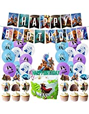Raya and Dragon Birthday Decorations, Raya and Dragon Party Supplies Includes Happy Birthday Banner, Cake Topper, Cupcake Toppers, Raya Party Balloons Party Favor Purple