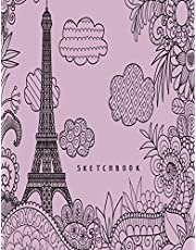 sketchbook: Eiffel Tower in london on purple cover (8.5 x 11) inches 110 pages, Blank Unlined Paper for Sketching, Drawing , Whiting , Journaling & Doodling