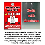 PET ALERT! FIRE RESCUE PLEASE SAVE OUR PETS! - DALMATION PUP WITH FIRE FIGHTER HELMET - New Metal Aluminum Pet Alert Sign. In Case of Emergency, Please Save Our Pets! Police Rescue Dog Cat Bird Signs. Ships from Ontario, Canada.