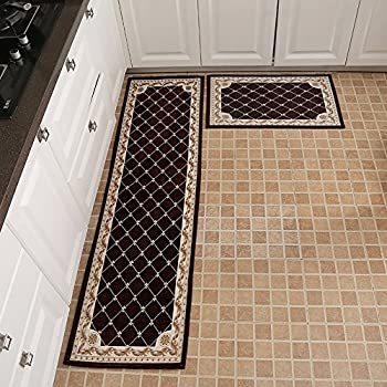 "KEYAMA 1 piece High-grade (20"" Wx31 L) Brown Grid Acrylic Non-Slip Home Kitchen Floor Comfort Mat Home Decorative area Rugs Hallway Room aisle decorative Runner Fashion Doormat."