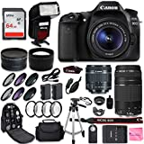 Canon EOS 80D DSLR Camera + Canon EF-S 18-55mm + Canon EF 75-300mm Lens + 0.43 Wide Angle & 2.2 Telephoto Lens + Macro Filter Kit + 64GB Memory Card + Camera Works PRO Accessory Bundle