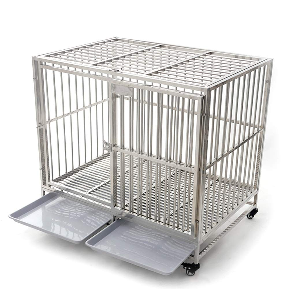 78×52×77cm Dog Playpen Crate Fence, Stainless Steel Dog Cage Large Dog, Portable Single Door Pet Playpens