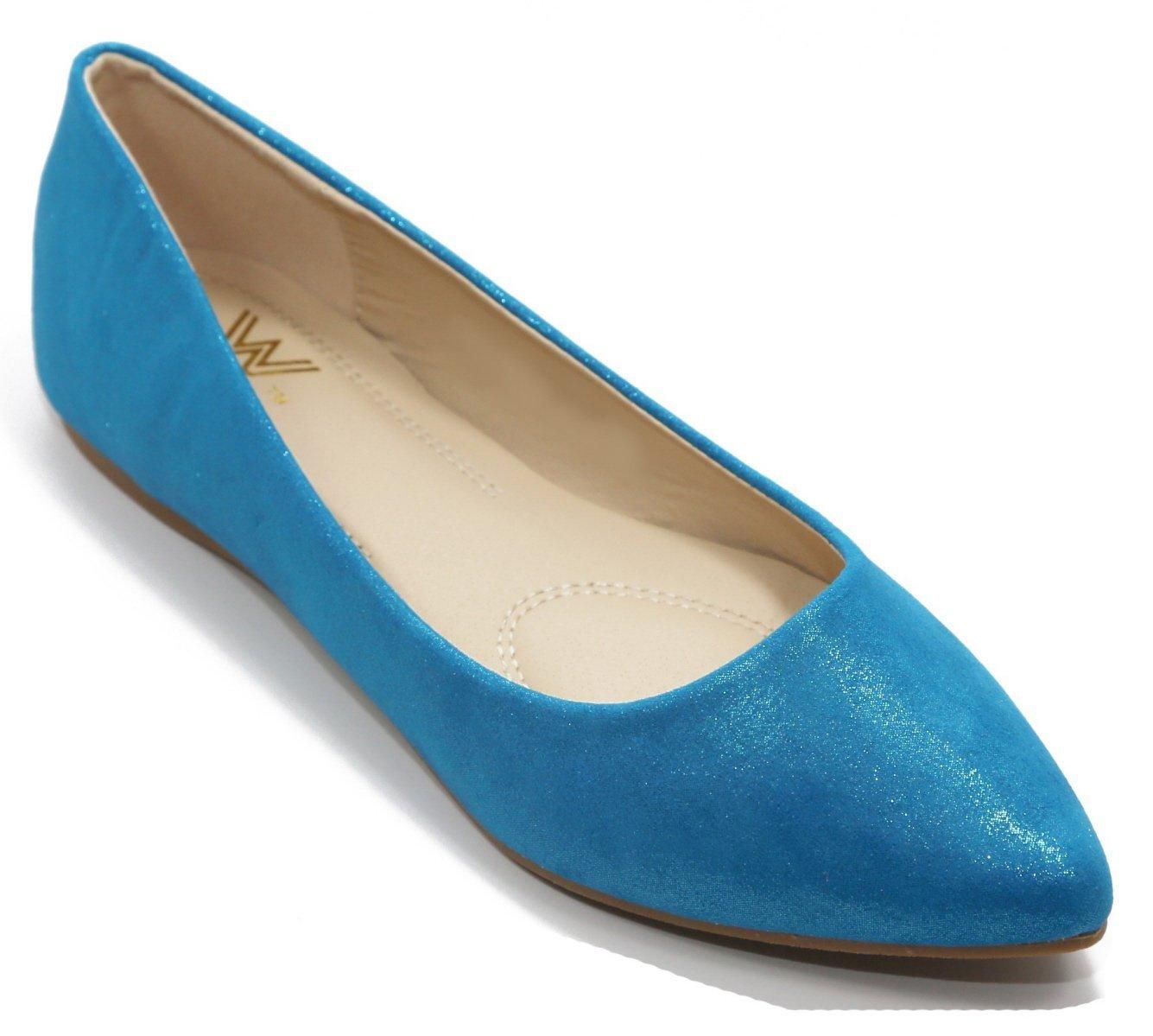 Walstar Women's Basic Point Toe Ballet Flats B00U6KBUDU 8 B(M) US Ms518-blue