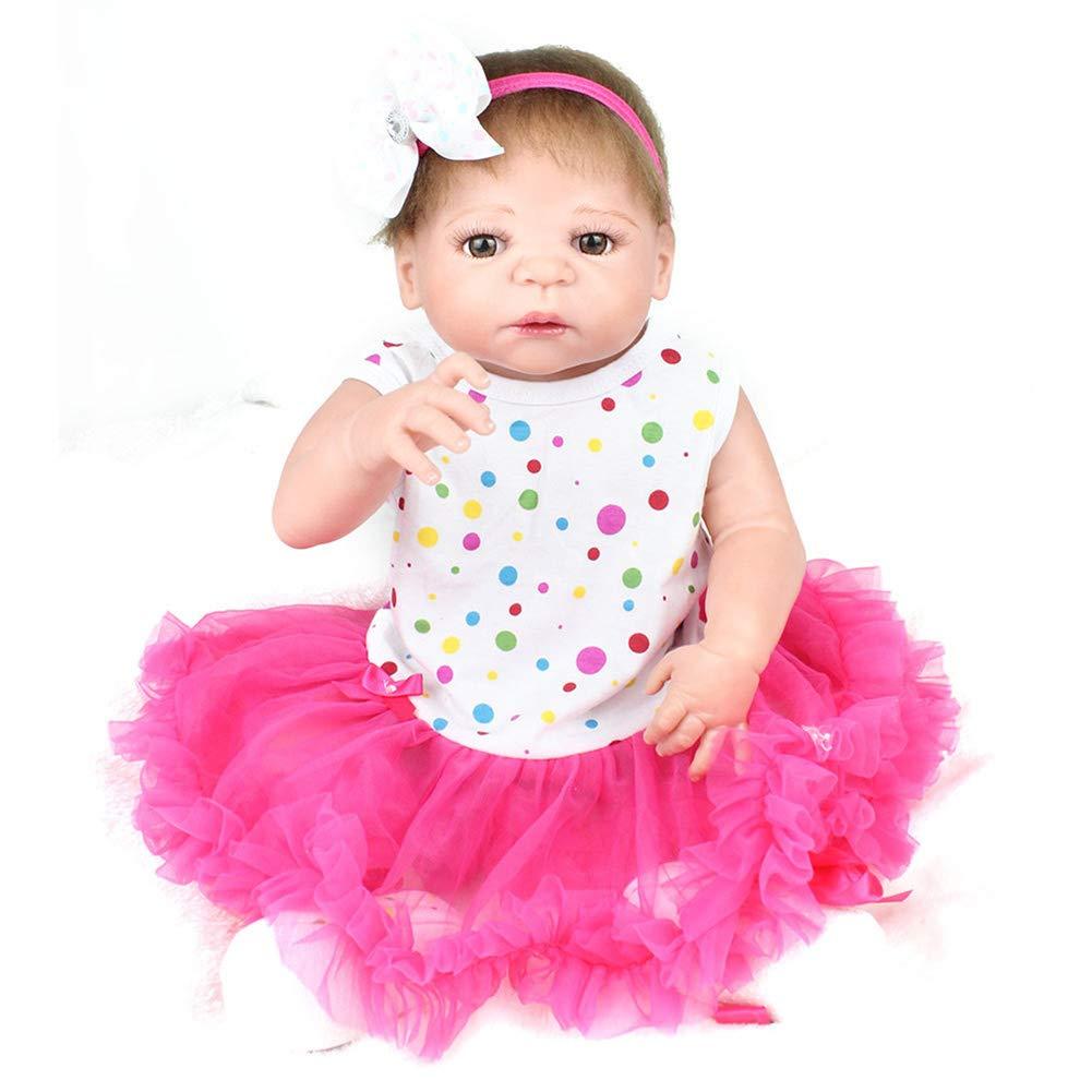 NPKdoll Reborn Baby Puppe Lebensecht Simulation Mädchen 55cm,Ganzkörper Silikon Material,Implantiertes Haar Kann Duschen,Spielzeug Geschenk Puppe Sammeln ZZ15