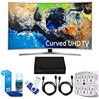 Samsung UN49MU7500 48.5 Curved 4K Ultra HD Smart LED TV (2017 Model) Plus Terk Cut-the-Cord HD Digital TV Tuner and Recorder 16GB Hook-Up Bundle
