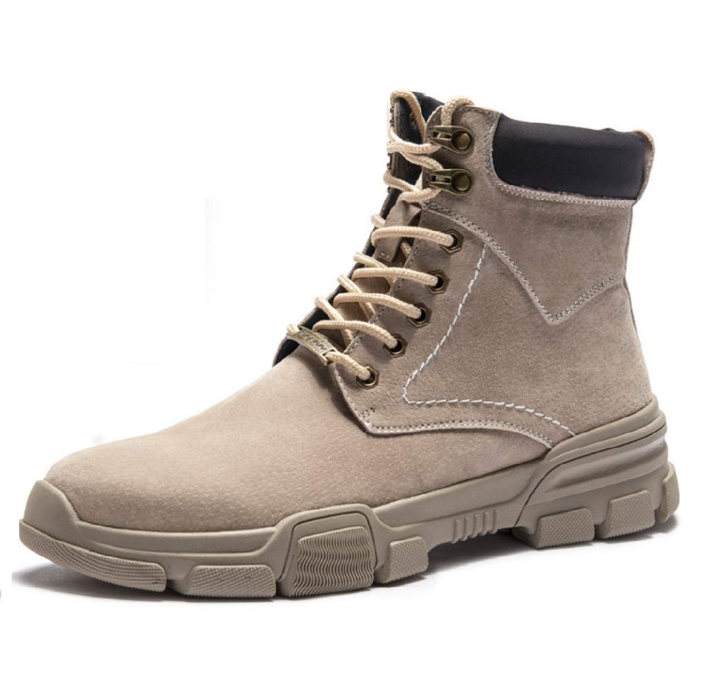 Brownplus velvet SHANGWU Men's And Bare Boots High shoes Desert Short Boots Leather Trend Tooling Military Boots Wild England Martin Boots Men