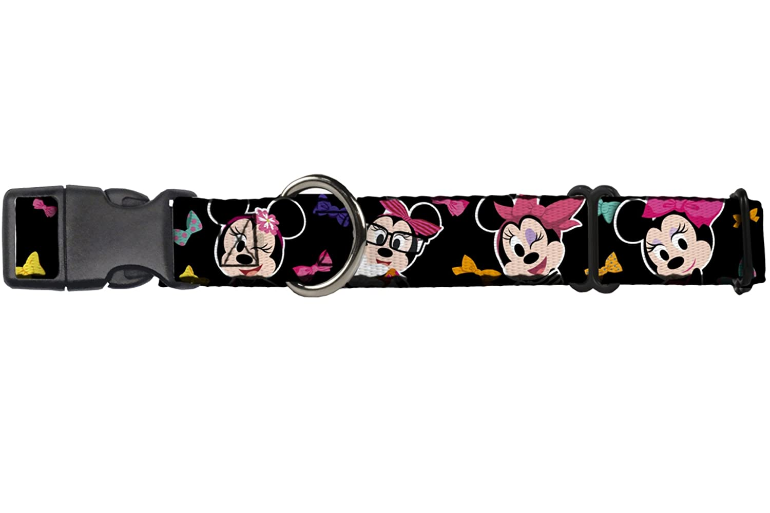 Buckle-Down Martingale Dog Collar Mini Minnie Expressions Bows Black Multi color 1  Wide Fits 11-17  Neck Size Medium