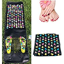 Jinon Foot Massage Stone Mat,Reflexology Walk Stone Foot Leg Pain Relieve Relief Walk Massager Mat,Acupoint Mat for Acupressure Relaxes The Nerve Ache Ease Tiredness of The Muscle(68.89in*13.8in)