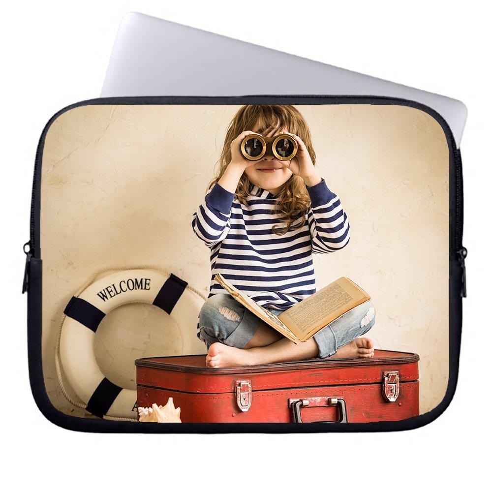 okoukiu una bonita chica se sienta en caja la caja en con un telescopio cremallera neopreno portátil Funda Maletín Bolso Sleeve case bolsa para ordenador portátil Chromebook & macbook air 1 12-12.5 inches 34020d