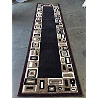 Modern Long Runner Rug Burgundy Americana Design#3627 (32in.X15ft.10in.)