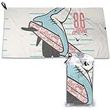 Toalla de microfibra personalizada con estampado de tiburón, ideal para deportes, viajes y playa, secado rápido, súper absorb