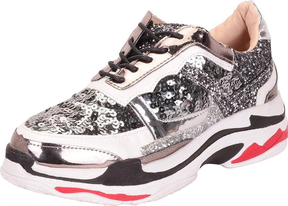 Gunmetal Multi Cambridge Select Women's Retro 90s Ugly Dad colorblock Lace-Up Chunky Platform Fashion Sneaker