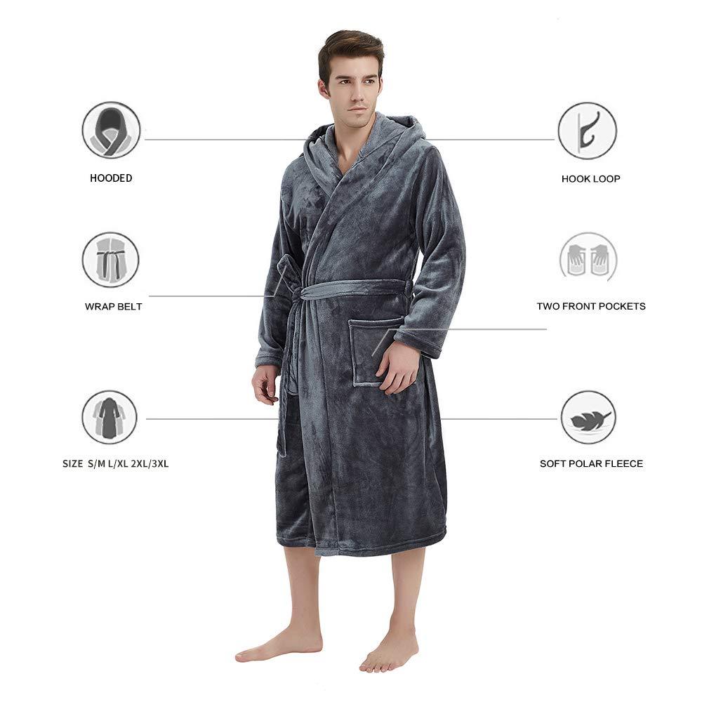 1864f209b6 U skiin mens fleece hooded robe plush bathrobe jpg 1000x1000 Mens fleece  hooded robe