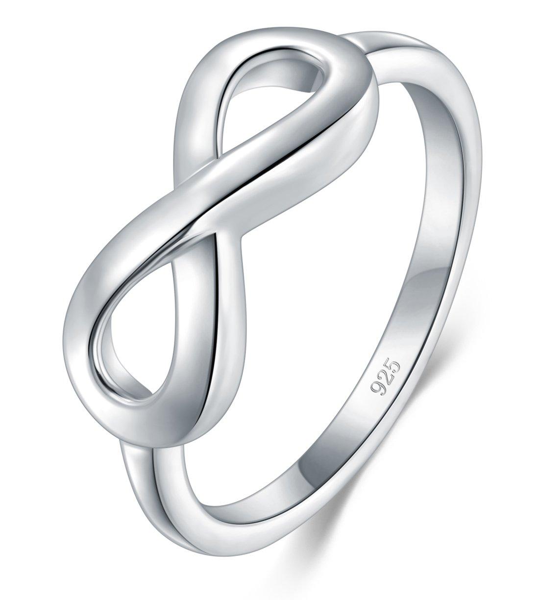 1482958f5 BORUO 925 Sterling Silver Ring High Polish Infinity Symbol Tarnish  Resistant Comfort Fit Wedding Band Ring