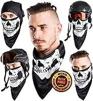 Triangular Skullface Set - Triangular Neck Warmer and Black Seamless Face Tube Mask