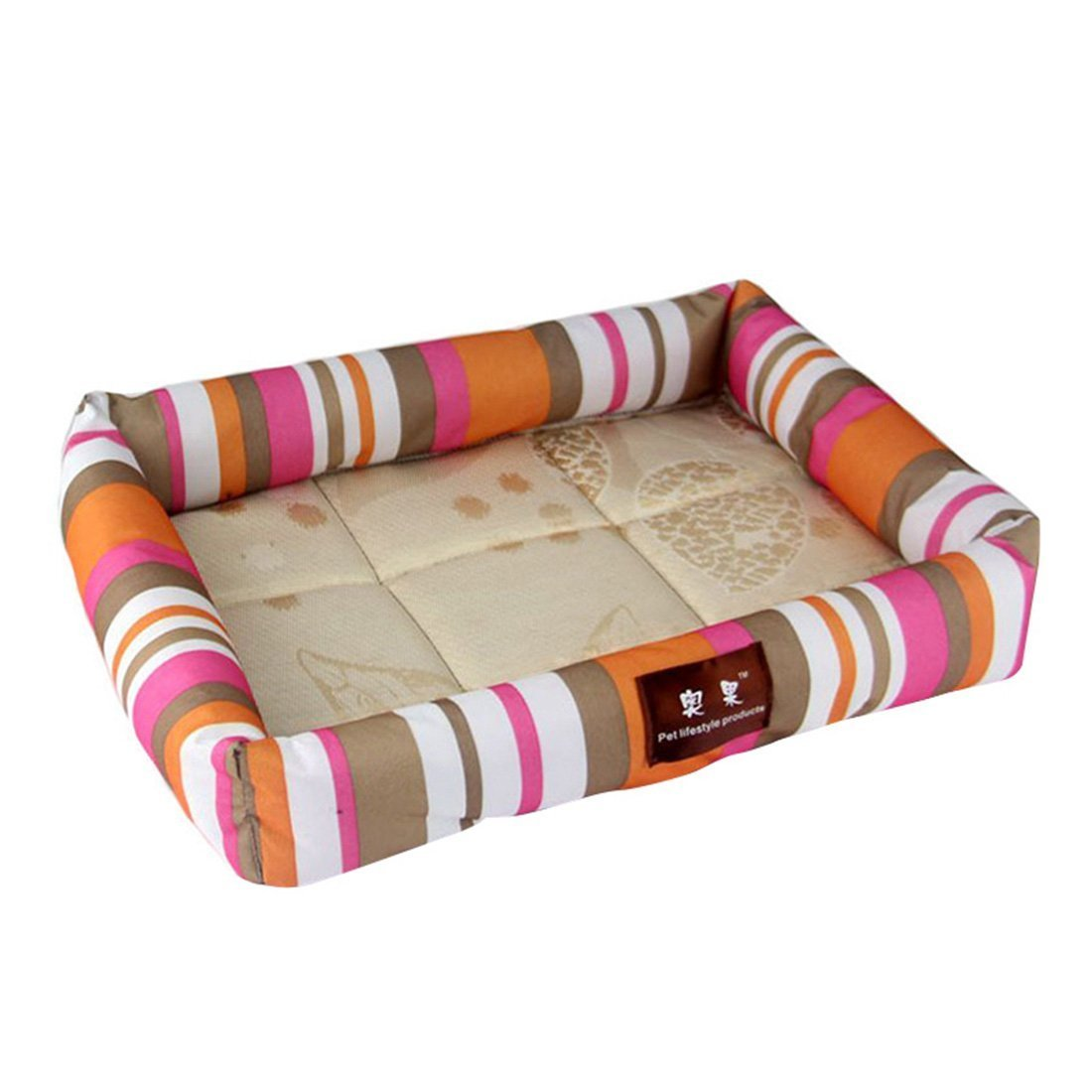 Chusea Cosy Blanket for Cat Summer Dog Bed Pet Cooling Sleeping Mat Cat Bed Cushion pink and orange XL