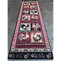 Lodge Rooster Style Runner Area Rug L-379 (2 feet 2 inch X 7 feet 2inches)