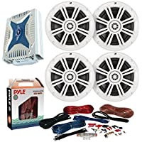 4 x Kicker 41KM604W 6.5 Marine Boat Coaxial White Speakers Combo Bundle With A Pyle PLMRA430BT 1000 Watt 4-Channel Marine Car Bluetooth Amplifier + Pyle PLMRAKT8 8 Gauge Amplifier Installation Kit