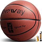 "Tereway Basketball Indoor/Outdoor Games Hygroscopic Leather Basketball Official Size 7-29.5"" with Pump, Needles and Basketball Net"