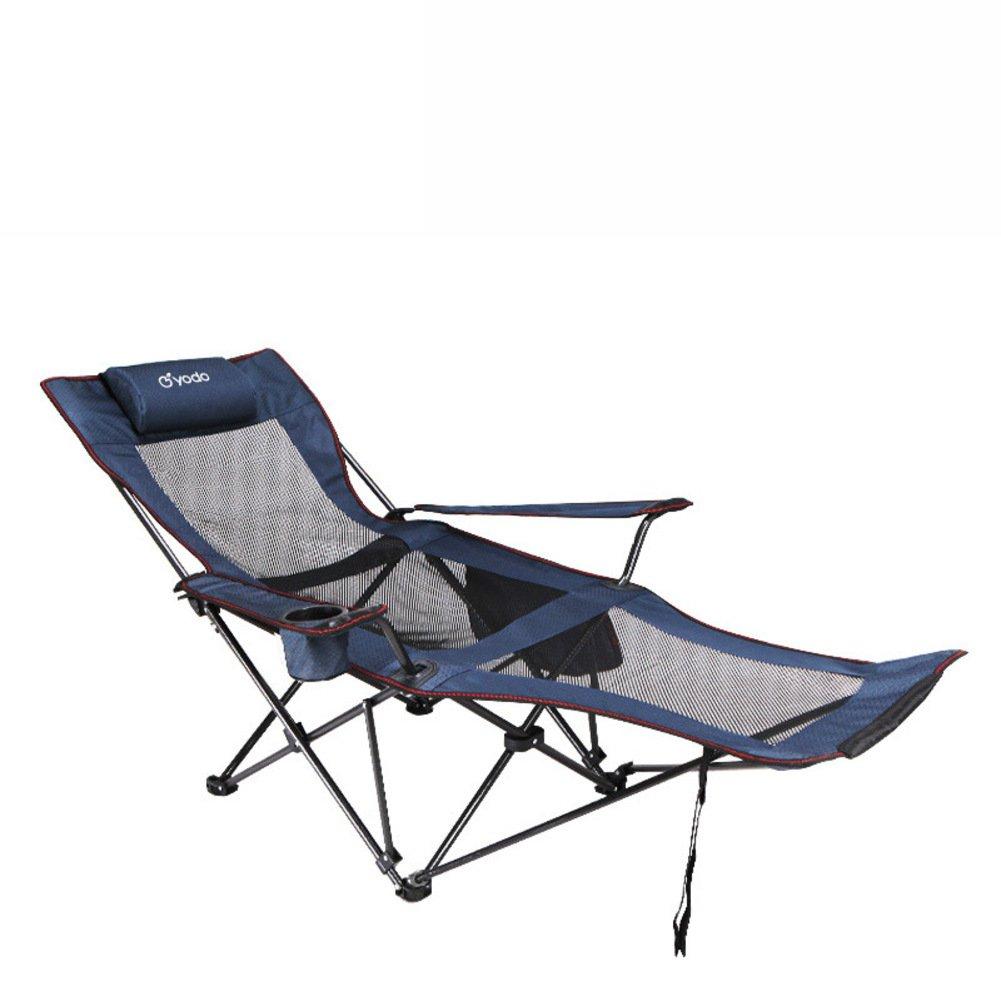 KFHSNJ Outdoor Beach Stuhl,Falten Geräumige Stuhl Mittagessen Pause Stuhl Für Wanderer, Camp, Beach, Angeln-Blau