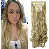 """18"""" Curly Wavy 4 Pieces Set Thick Clip in on Synthetic Single Weft Hair Extensions Hairpieces for Women Ash Blonde Mix Bleach"""