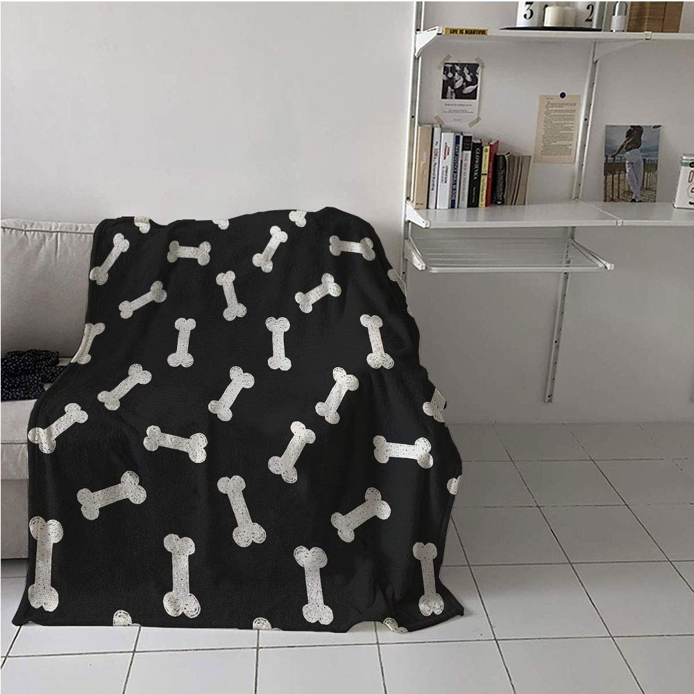 51\ Suchashome Dog Bone Fabric The Yard Print Blanket,Simplistic Doodle Dog Food Bone Background Canine Animal Care Theme,Print Artwork,Blanket for Sofa Couch Bed 51  x 60