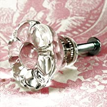 Cabinet Knobs and Pulls, Glass Dresser Knobs and Cupboard Door Handles 12-Pack T11 Clear Vintage Replica Flower Style Glass Pulls with Nickel Hardware. Made by Romantic Decor & More