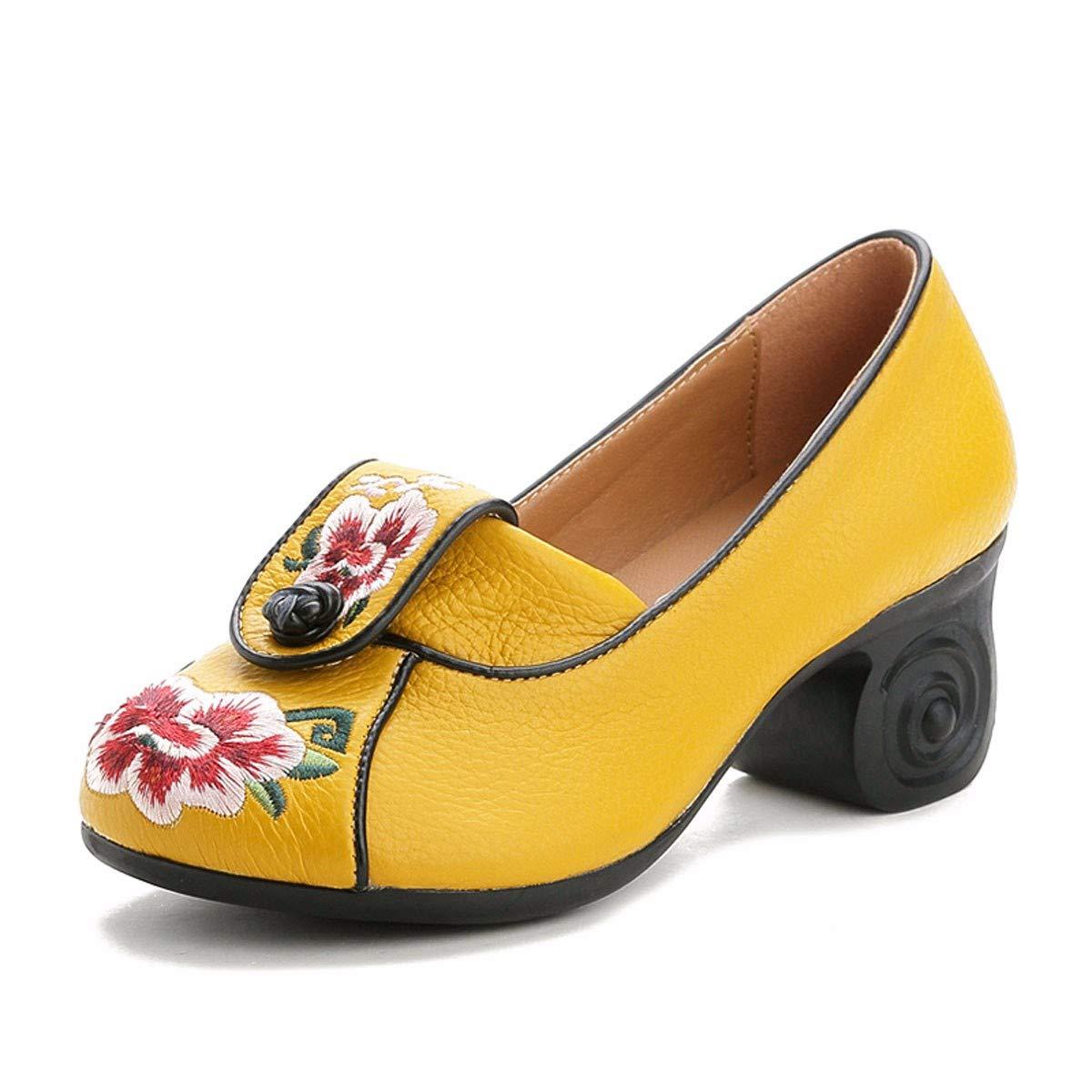KPHY Stickereien Damenschuhe/Herbst Schuhe Stickereien KPHY Nationalen Stil Schuhe Dicke Schuhe Mittleren und Älteren Alleinstehenden Schuhe Im Frühjahr und Herbst Leder Flache Schuhe Mund Mutter 40 Schwarz  - e5ce8e