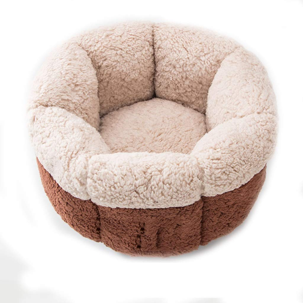 Qz Brown Soft Furry Washable Dog Cat Pet Bed Suitable for Cat And Puppy