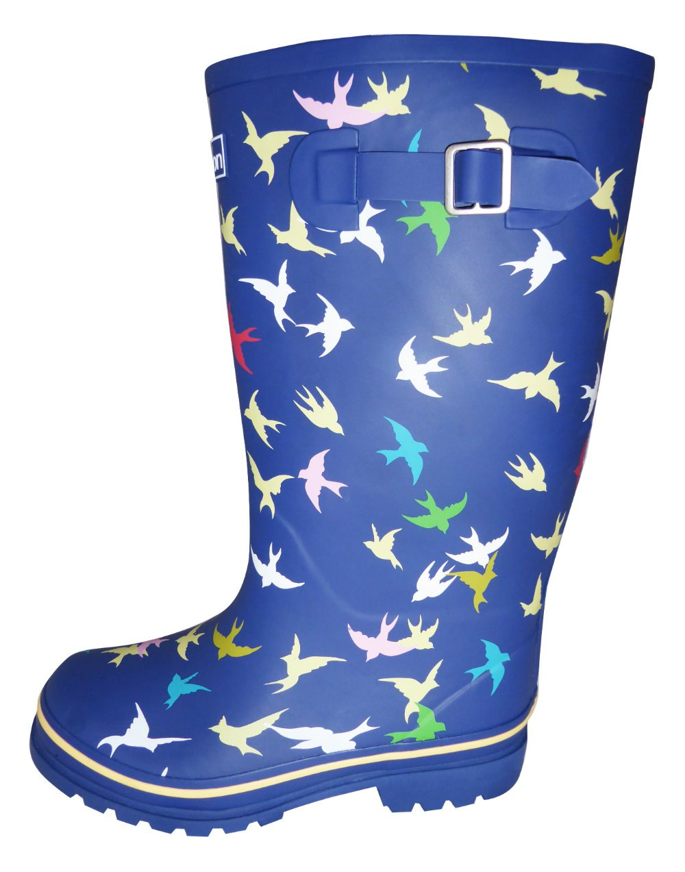 Jileon Wide Calf All Weather Durable Rubber Rain Boots for Women-Fits Calf Sizes up to 18 inches B01EI0E7U6 9 W (Wide) US Navy Blue With Birds