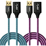 Fasgear [2 Pack] USB Extension Cords, 6 Feet(1.83M) USB 3.0 A-Male to A-Female Extender Cables with Metal Gold-Plated Connector (Blue,Rose)