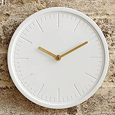 Decorative Wall Clock by Beautiful Things Online – White Ceramic Face – Metallic Gold Hands – Round 10 Inch – Silent Quartz Movement – Easy To Hang – Single AA Battery Powered