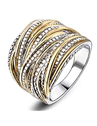 Mytys Silver Gold Plated Rings Intertwined Crossover Statement Rings 2 Tone Band Ring for Women Men 18mm