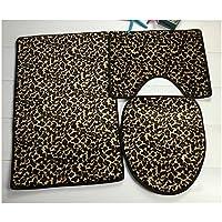 Leopard Print 3pcs Set Toilet Seat Ground Mat Carpet E
