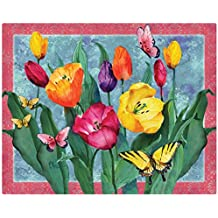 "Magic Slice Tulips with Butterflies by Paul Brent Non-Slip Flexible Cutting Board, Multicolor, 12"" x 15"""