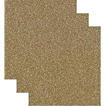 Siser Glitter Heat Transfer Vinyl HTV for T-Shirts 10 by 12 Inches (1 Foot) 3 Precut Sheets (Old Gold)