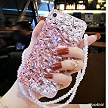 Crystal_phonecase Bling Sparkly Handmade Rhinestone Jewelled Crystals Diamond Clear Case Cover for Apple iPhone 4/4s 5c 5/5s/SE 6/6s 6/6sPlus 7/8 7/8Plus X (Pink/White Crystal, iPhone 6/6s Plus)