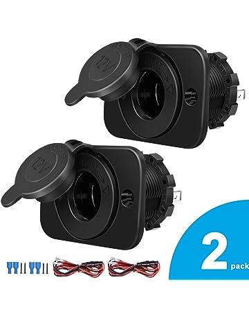 2-pack cigarette lighter socket, 12v power outlet receptacle for car marine  motorcycle atv