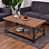 Rectangular Metal Frame Wood Coffee Table with Storage Shelf