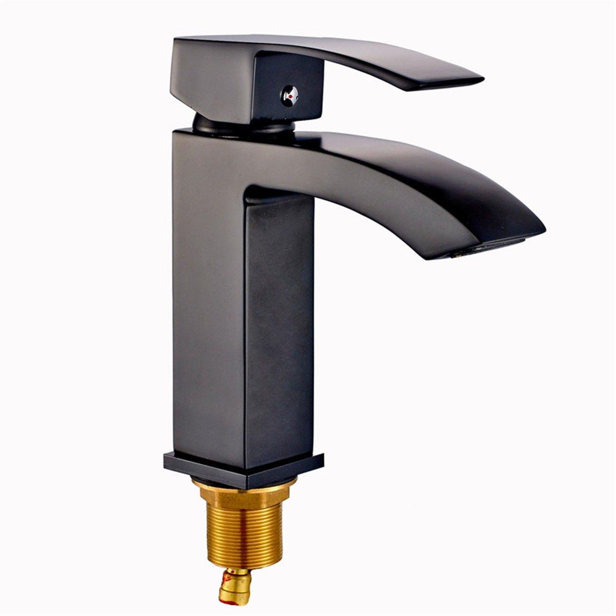 ANNTYE Waschtischarmatur Bad Mischbatterie Badarmatur Waschbecken Schwarzes Öl eingerieben Bronze Wasserfall mit warmen und kaltem Wasser Schwarz Badezimmer Waschtischmischer
