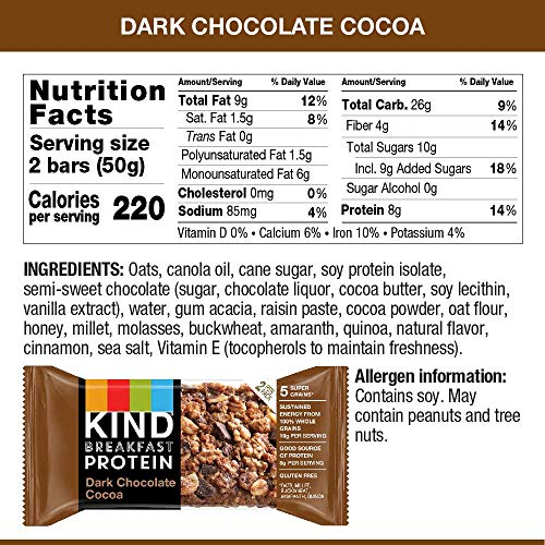 KIND Breakfast Protein Bars, Dark Chocolate Cocoa, Gluten Free, 1.76oz, 32 Count