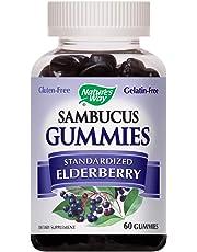 Nature's Way Sambucus Elderberry Gummies, Herbal Supplements with Vitamin C and Zinc, Gluten Free, Vegetarian, 60 Gummies (Packaging May Vary)