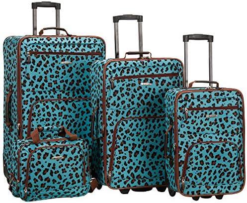 Rockland Jungle Softside Upright Luggage Set, Blue Leopard, 4-Piece (14/29/24/28)