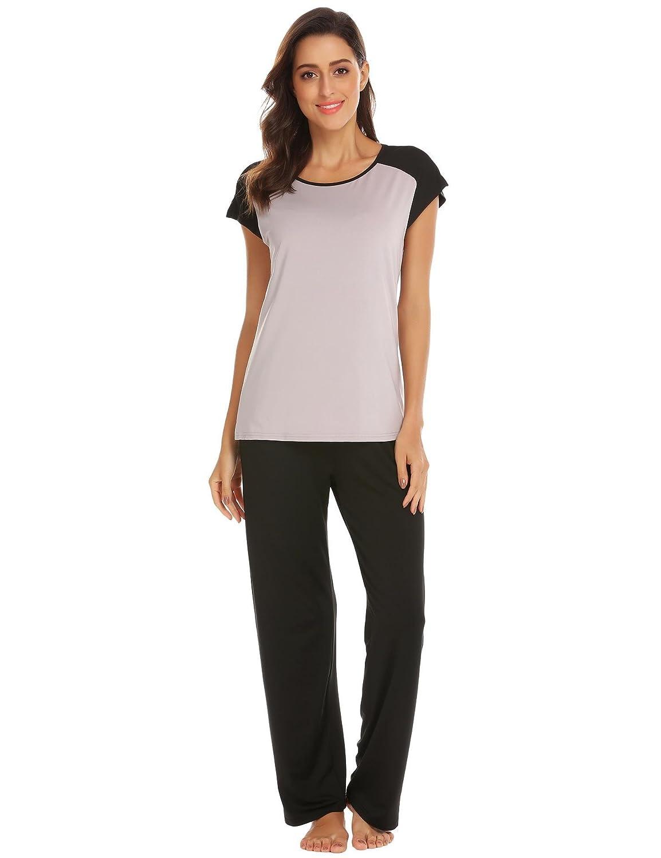 Black Vansop Women Pj Set Short Sleeve Top and Striped Pajama Pants Sleepwear SXXL