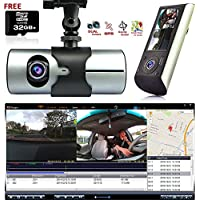 Indigi Dash Cam 2.7 LCD HD Dual Cam Car DVR Black Box w/ GPS Tracker + G-Sensor + 32GB